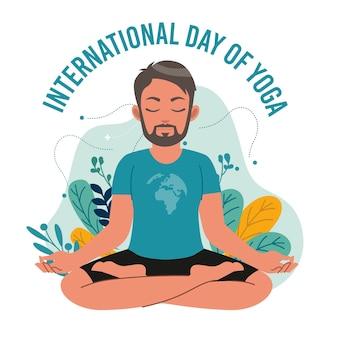 Internationaler tag des yoga mit dem menschen