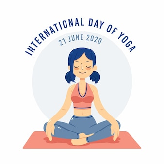 Internationaler tag des yoga mit frau