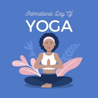 Internationaler tag des yoga mit frau