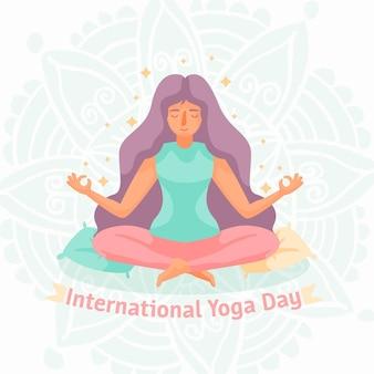 Internationaler tag des yoga-zeichnungsentwurfs