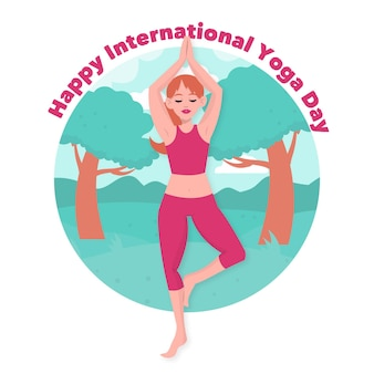 Internationaler tag des yoga-zeichnungsthemas
