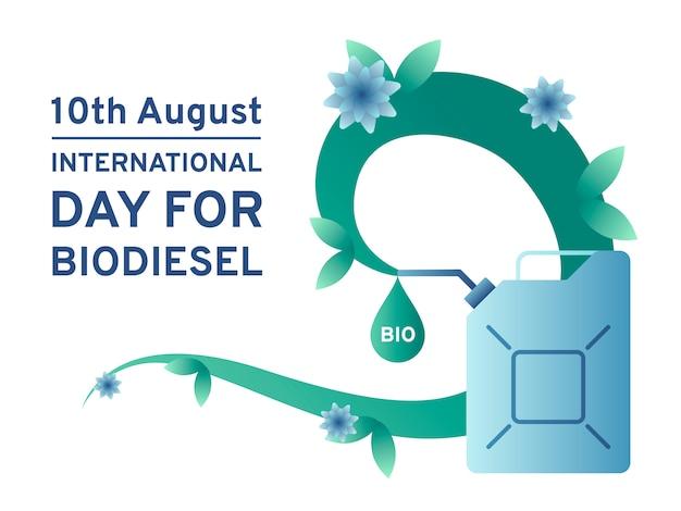 Internationaler tag für biodiesel mit kanister und ökologisch sauberem kraftstoff.