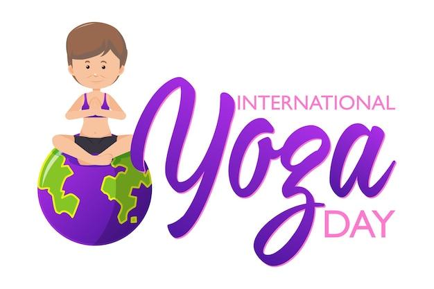 Internationaler yoga-tag-banner mit frau, die yoga-pose macht