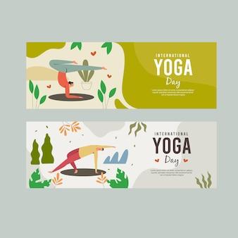 Internationaler yoga-tages-banner-vektor-vorlage