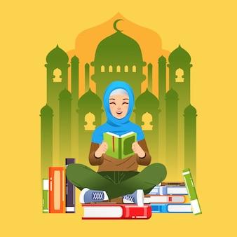 Internationales alphabetisierungs-tageskampagnenplakat mit hijab-mädchen, das buch liest und auf dem stapel bücher und moschee-shilouette als hintergrundillustration sitzt