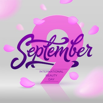 Internationales beauty day banner mit fliegenden rosenblättern. september schriftzug. schöne illustration für grußkarte, zertifikat, rabatt, social media banner.
