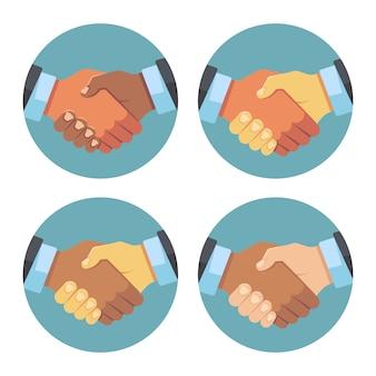 Internationales business-handshake-set