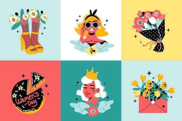 Internationales frauentagsdesign mit coolen mädchenfiguren, kuchen und blumen