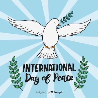 Internationales friedenstageskonzept mit weißer taube