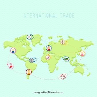 Internationales handelskonzept mit flachem design
