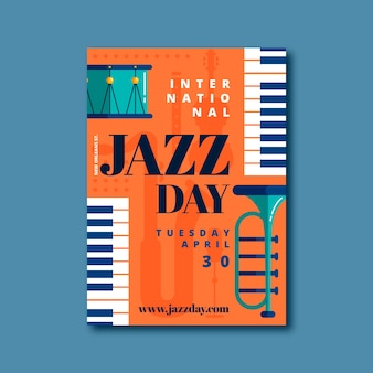Internationales jazz day flyer template design