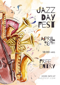 Internationales jazz day template-konzept