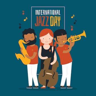 Internationales jazz-tageskonzept mit flachem design