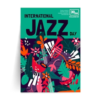 Internationales jazz-tagesplakat des flachen designs