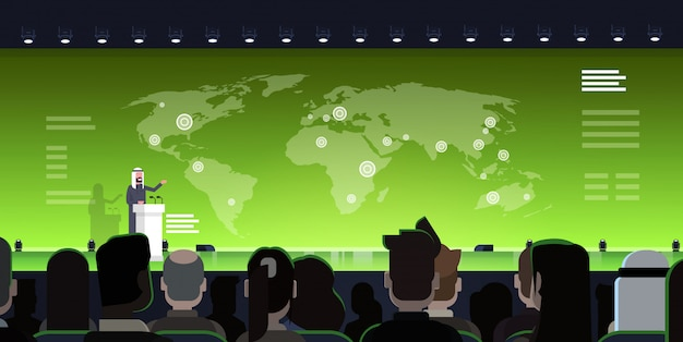 Internationales konferenz-sitzungs-konzept-arabischer geschäftsmann oder politiker leading presentation from tribune über arabischem sprechertraining der weltkarte mit großem publikum