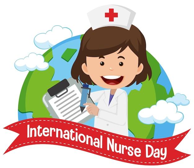 Internationales krankenschwestertag-logo mit niedlicher krankenschwester auf globushintergrund