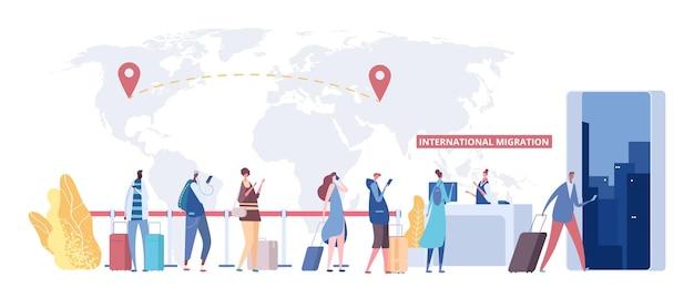 Internationales migrationskonzept. warteschlange für einwanderer, weltkarte und zielpunkte. vektor globale migration, flache menschen mit reisetaschen. illustration globale internationale migration, krise arbeitslos