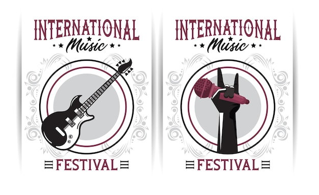 Internationales musikfestivalplakat mit e-gitarre und handlifting-mikrofon