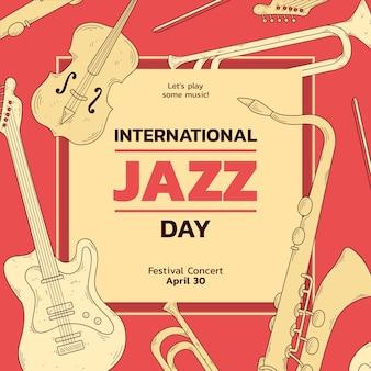 Internationales vintage jazz tag saxophon und gitarre