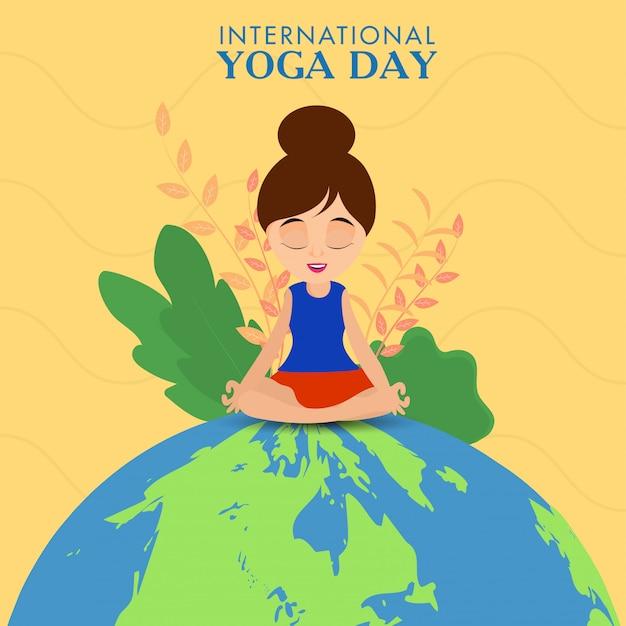 Internationales yoga-tageskonzept mit der schönen mädchenmeditation, die auf gelbem hintergrund des öko-globus sitzt.