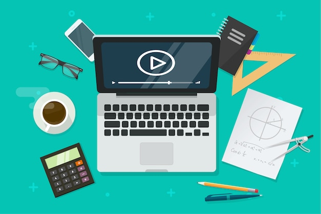 Internet-bildung online über laptop-computer oder das studieren der lektionsillustration in der flachen karikaturart