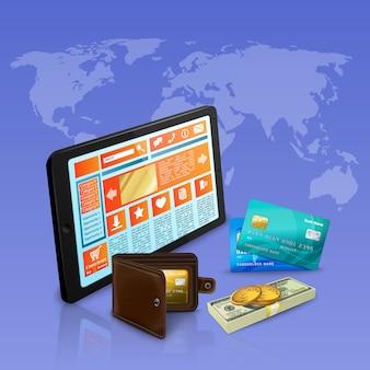 Internet, das online-zahlung mit realistischer zusammensetzung der bankkarten auf veilchen mit weltkarteillustration kauft