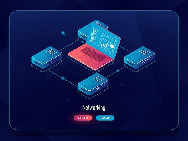 Internet-datenisometrie, verarbeitung und analyse von informationen, routing des laptop-verkehrs, verarbeitung