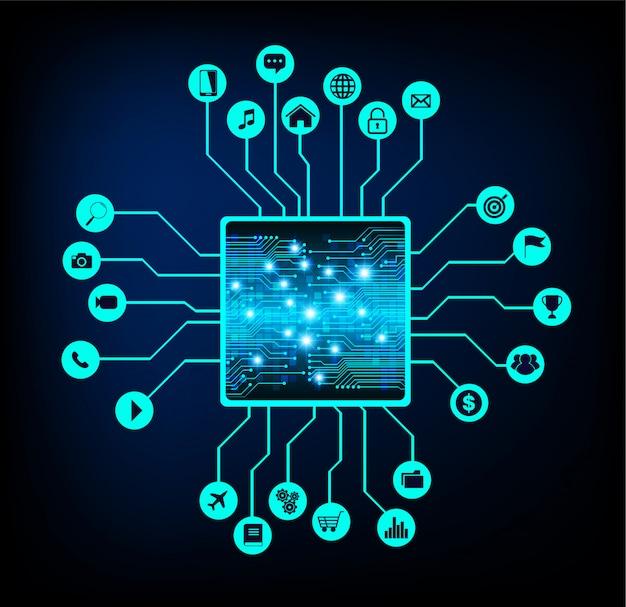 Internet der dinge cpu-schaltung cyber-technologie