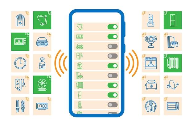 Internet der dinge, iot, geräte und netzwerkkonnektivitätskonzepte festgelegt. alle geräte werden zentral gesteuert. ein- und ausschaltbefehle werden vom telefon gegeben. gadgets kommunizieren über das internet.