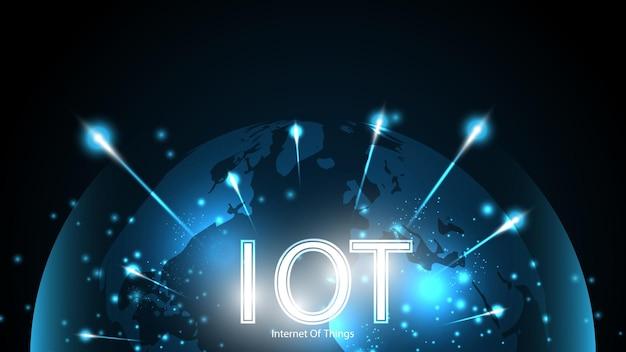 Internet der dinge. iot-konnektivitätskonzept. hintergrund der globalen verbindungstechnologie des netzwerks