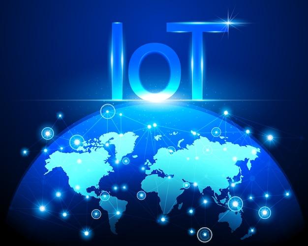 Internet der dinge (iot) technologie und weltkarte