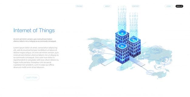 Internet der dinge (iot) und netzwerkkonzept für angeschlossene geräte. spinnennetz von netzwerkverbindungen mit auf einem futuristischen blauen hintergrund.