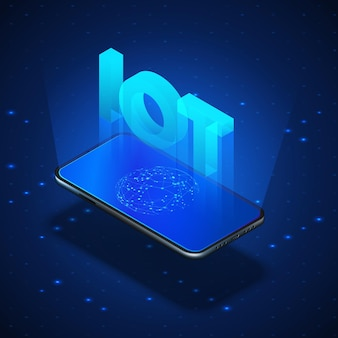 Internet der dinge konzept. iot-hologramm über dem mobilen bildschirm. realistisches mobiltelefon der isometrischen illustration.