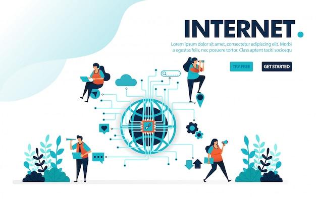 Internet der dinge, menschen nutzen das internet für soziale arbeit und kommunikationsaktivitäten,