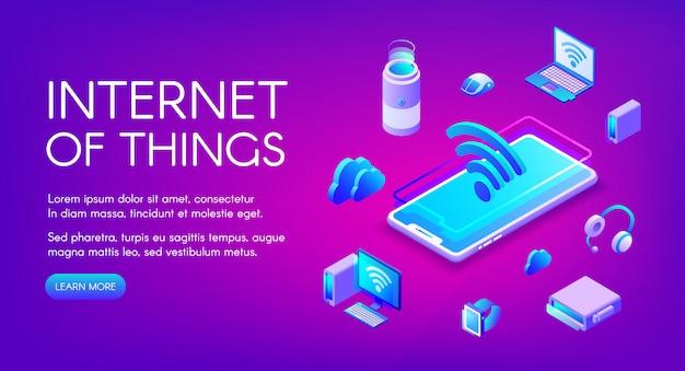 Internet der sachen illustration der kommunikation der intelligenten geräte im drahtlosen wi-fi-netzwerk