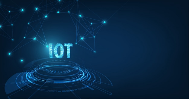 Internet des konzeptes der sachen- (iot) daten-wolken-datenverarbeitungsnetz der körperlichen geräte mit sicherer netzkonnektivität auf dunkelblauem farbhintergrund.