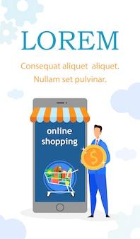 Internet-einkaufen-flacher flieger, broschüren-schablone
