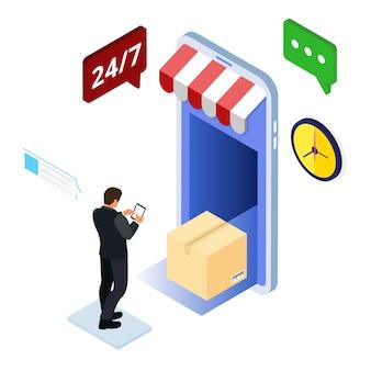 Internet-einkaufs-lieferungs-isometrisches konzept