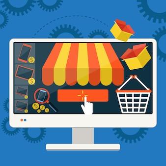 Internet-einkaufskonzept smartphone mit markise des kaufens von produkten über on-line-shopspeicher-e-commerce-ideen-e-commerce-symbolverkaufselemente