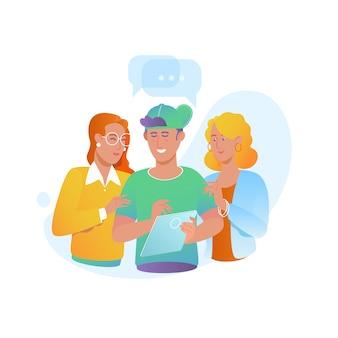 Internet-forum. vektorabbildung eines kommunikationskonzeptes.