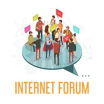 Internet-forumgesellschaft mit kommunizierender isometrischer vektorillustration des leutekonzeptes