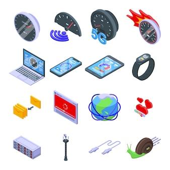 Internet-geschwindigkeitssymbole eingestellt. isometrischer satz von internetgeschwindigkeitssymbolen für web lokalisiert auf weißem hintergrund