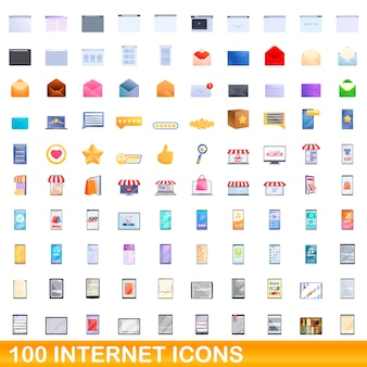 Internet-icons eingestellt. karikaturillustration von internetikonen, die auf weißem hintergrund eingestellt werden