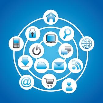 Internet-ikonen über blauem hintergrund vektor-illustration