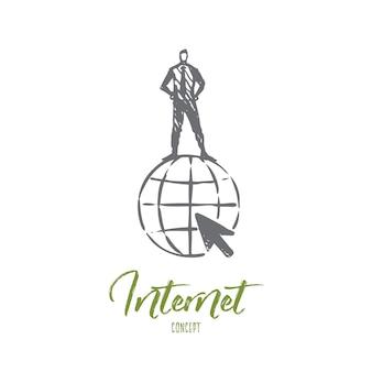 Internet-illustration in der hand gezeichnet