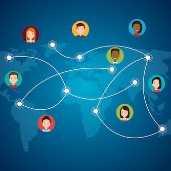 Internet-kommunikation mit community-leuten Kostenlosen Vektoren