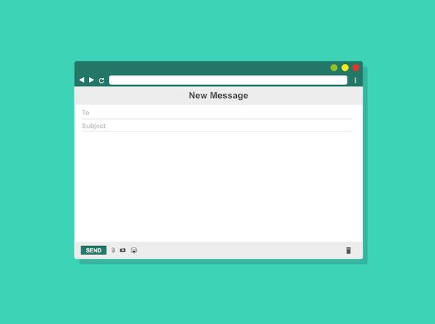 Internet-mail-rahmen der leeren schablone der e-mail, vektorillustration
