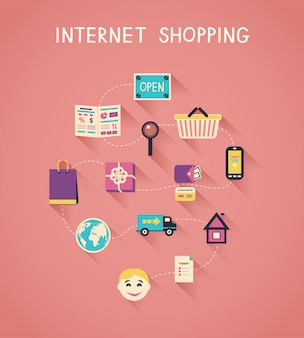Internet-marketing und online-shopping-infografiken