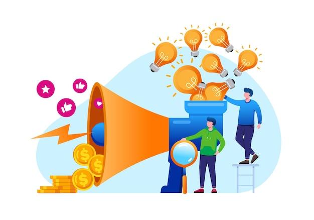 Internet-marketing- und werbesprecher-flache vektorgrafik für banner und zielseite
