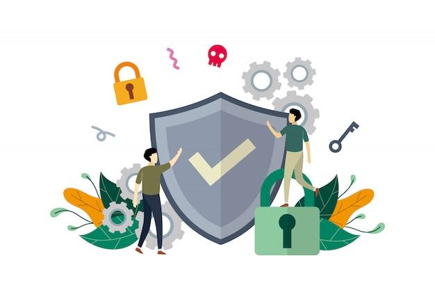 Internet-netzwerksicherheit, computersicherheit mit kleinen leuten